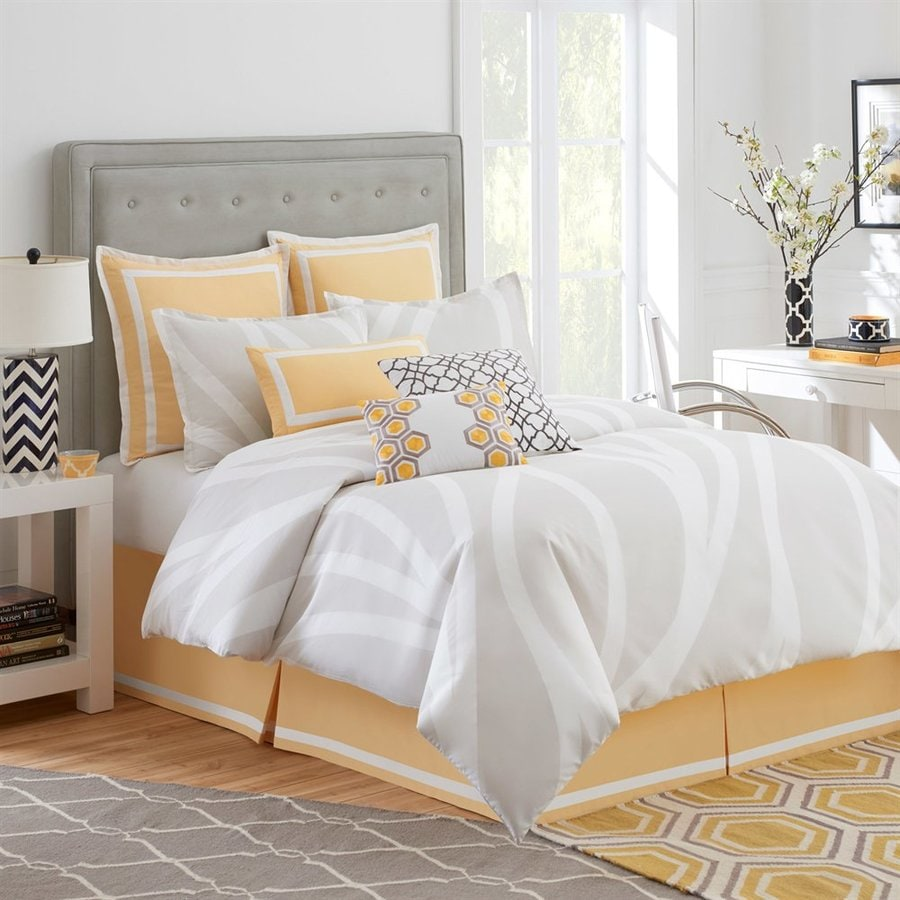 Jill Rosenwald by WestPoint Home Groton Swirl 4-Piece Grey/White/Yellow Queen Comforter Set