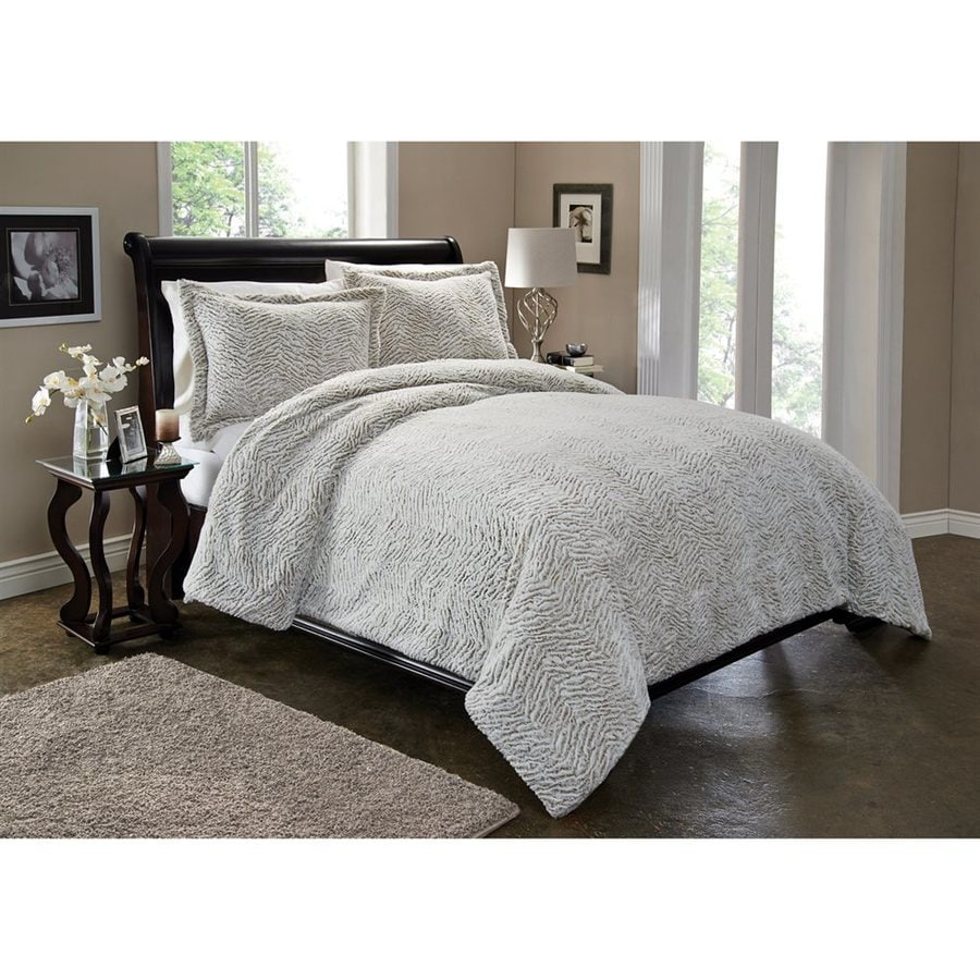 PEM America Outlet 3-Piece Silver Full/Queen Duvet Cover Set