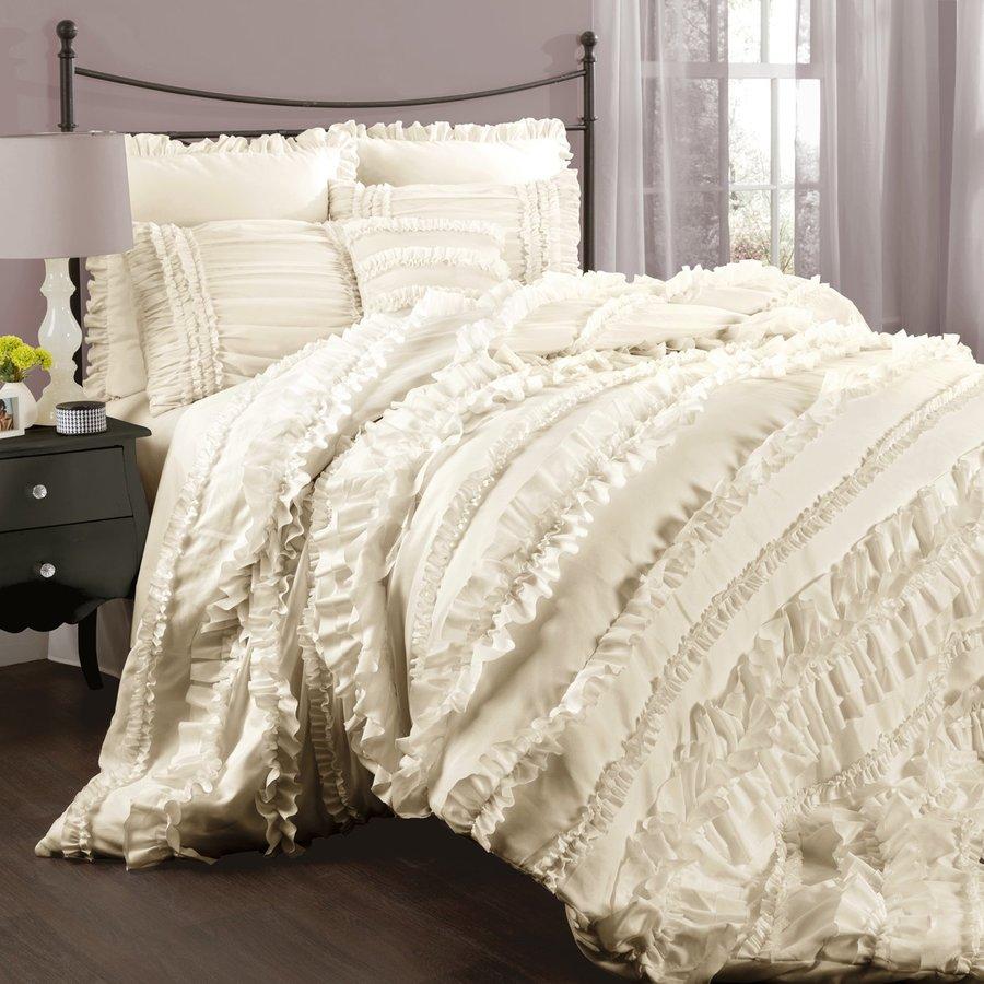 Lush Decor Belle 4-Piece Ivory Queen Comforter Set