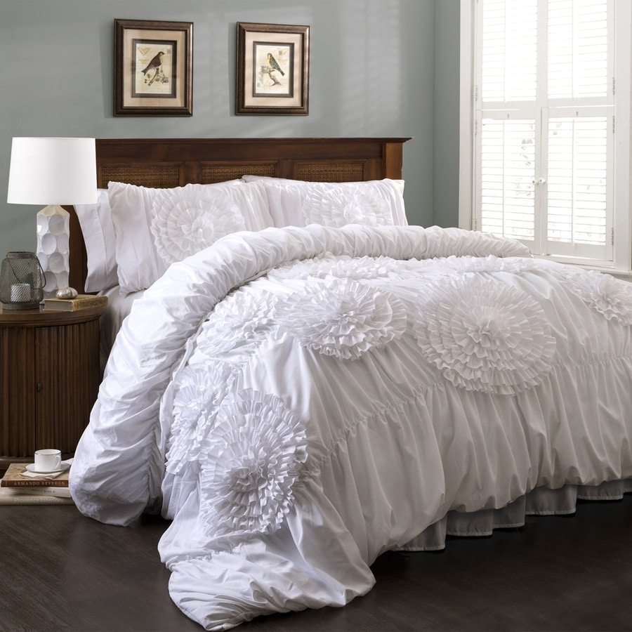 Lush Decor Serena 3-Piece White Queen Comforter Set