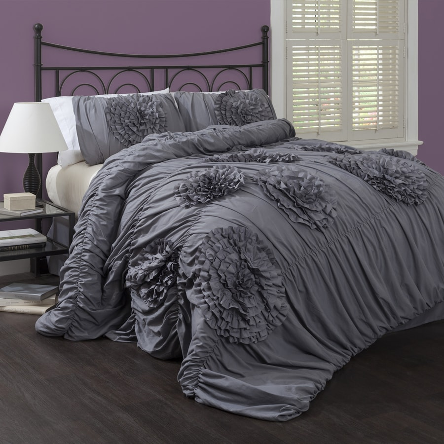 Bedding Decor: Lush Decor Serena 3-Piece Gray Queen Comforter Set At