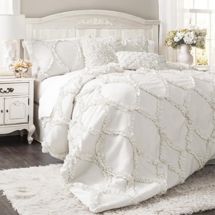 Lush Decor Avon 3-Piece White Queen Comforter Set