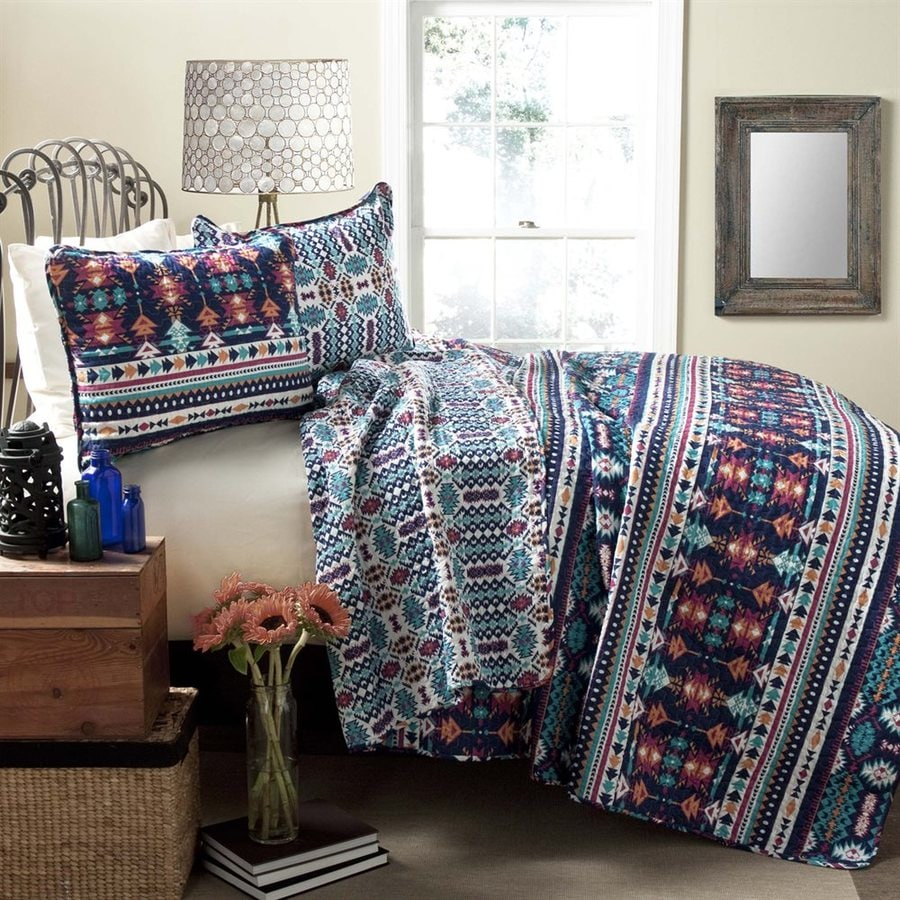 Lush Decor Navajo 3-Piece Navy-Turquoise Full/Queen Quilt Set
