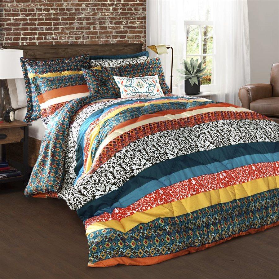 shop lush decor boho stripe 7 piece turquoise tangerine king comforter set at. Black Bedroom Furniture Sets. Home Design Ideas
