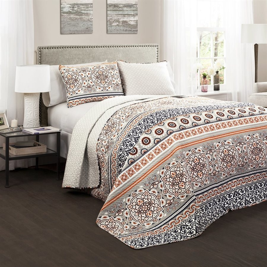 Lush Decor Nesco 3-Piece Navy-Coral King Quilt Set