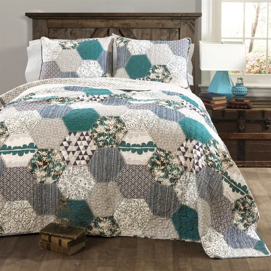 Lush Decor Briley 3-Piece Turquoise Full/Queen Quilt Set