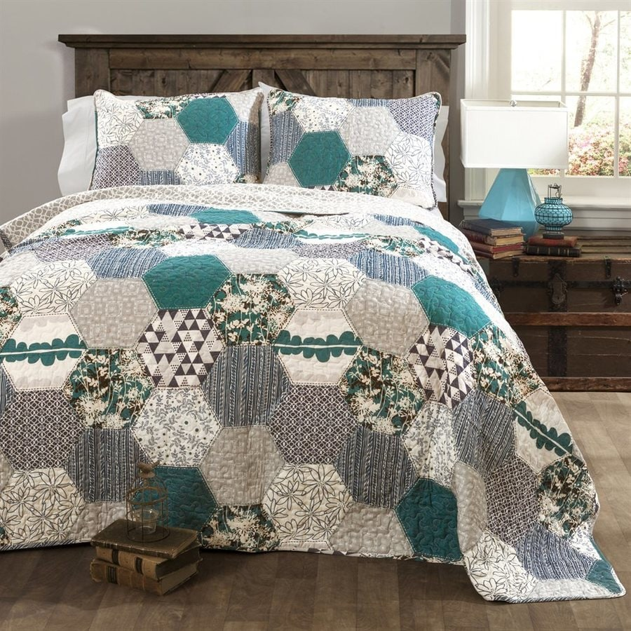 Lush Decor Briley 3-Piece Turquoise King Quilt Set
