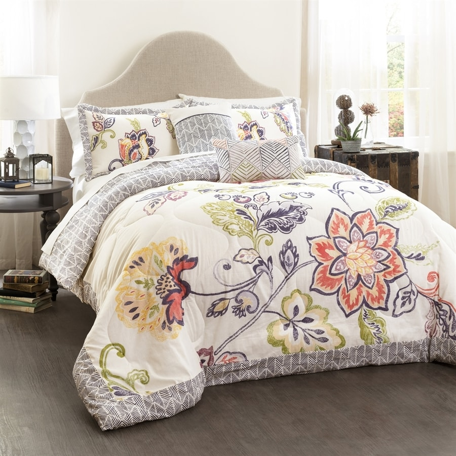 Lush Decor Aster 5-Piece Coral-Navy King Quilt Set