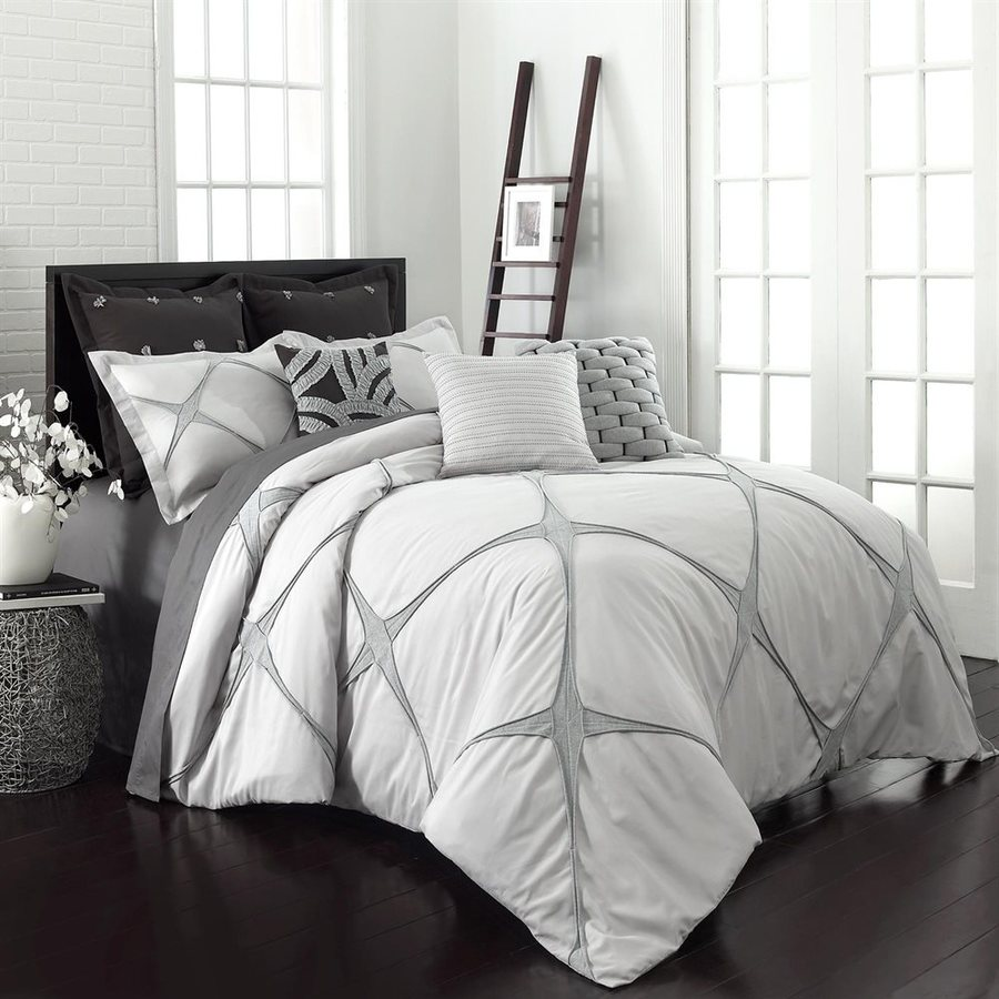 gray king comforter set Shop Vue by Ellery Cersei 3 Piece Grey King Comforter Set at Lowes.com gray king comforter set