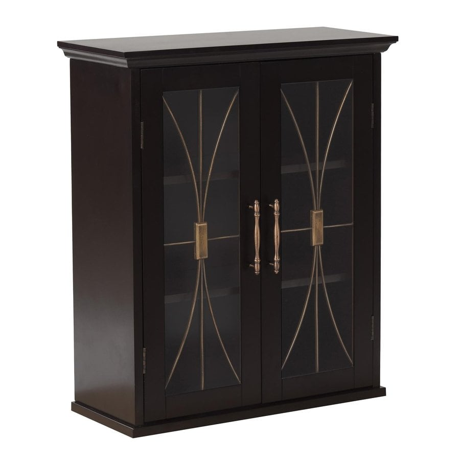 Elegant Home Fashions Delaney 20.5-in W x 24-in H x 8.5-in D Dark Espresso MDF Bathroom Wall Cabinet