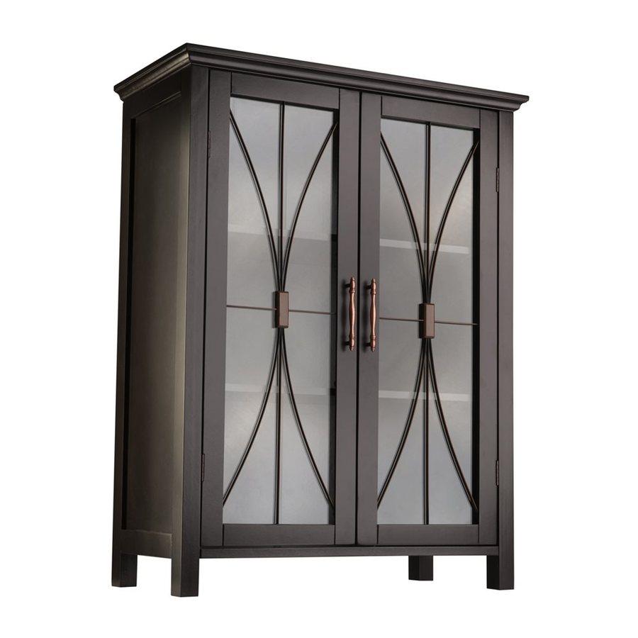 Elegant Home Fashions Delaney 26-in W x 34-in H x 12.5-in D Dark Espresso MDF Freestanding Linen Cabinet
