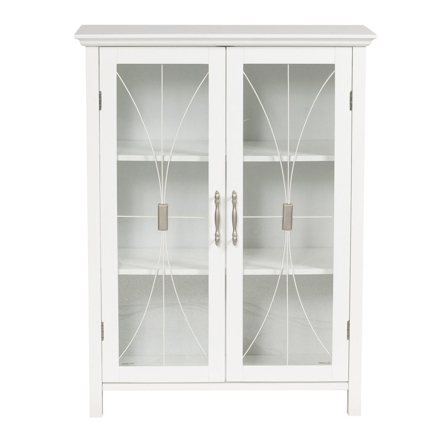 Elegant Home Fashions Delaney 26-in W x 34.25-in H x 12.5-in D White MDF Freestanding Linen Cabinet