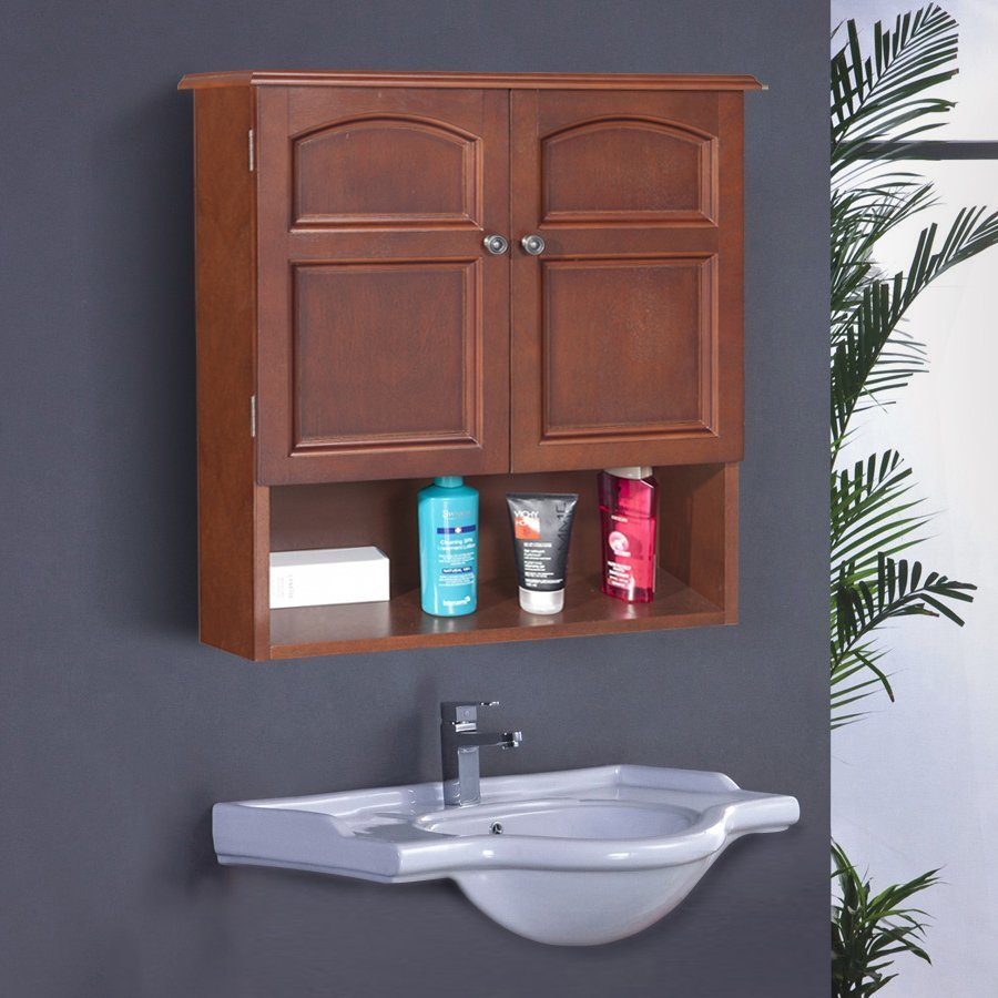 Elegant Home Fashions Martha 22.25-in W x 25-in H x 8-in D Mahogany MDF Bathroom Wall Cabinet