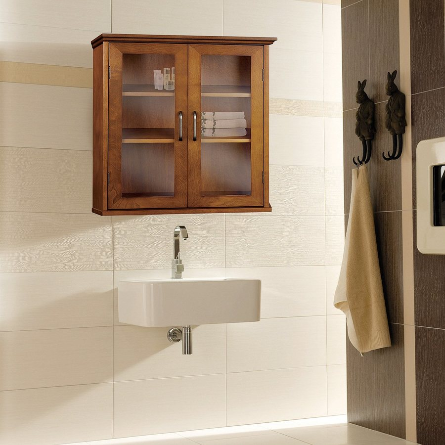 Elegant Home Fashions Avery 20.5-in W x 24-in H x 8.5-in D Oil Oak Bathroom Wall Cabinet