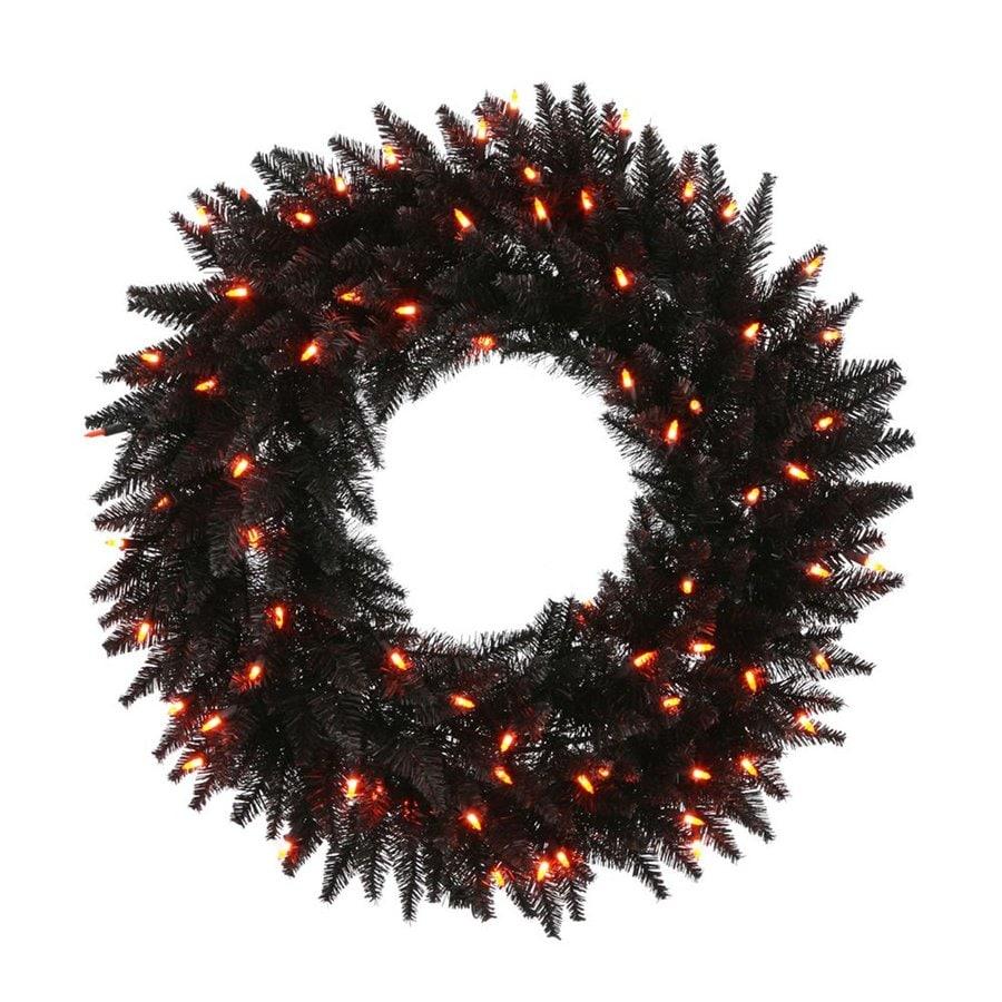 Vickerman 30-in Pre-Lit Artificial Halloween Wreath with Orange Incandescent Lights