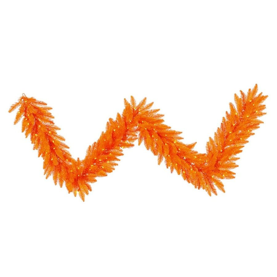 Vickerman Pre-Lit 9-ft Tinsel Artificial Halloween Garland with Orange Incandescent Lights