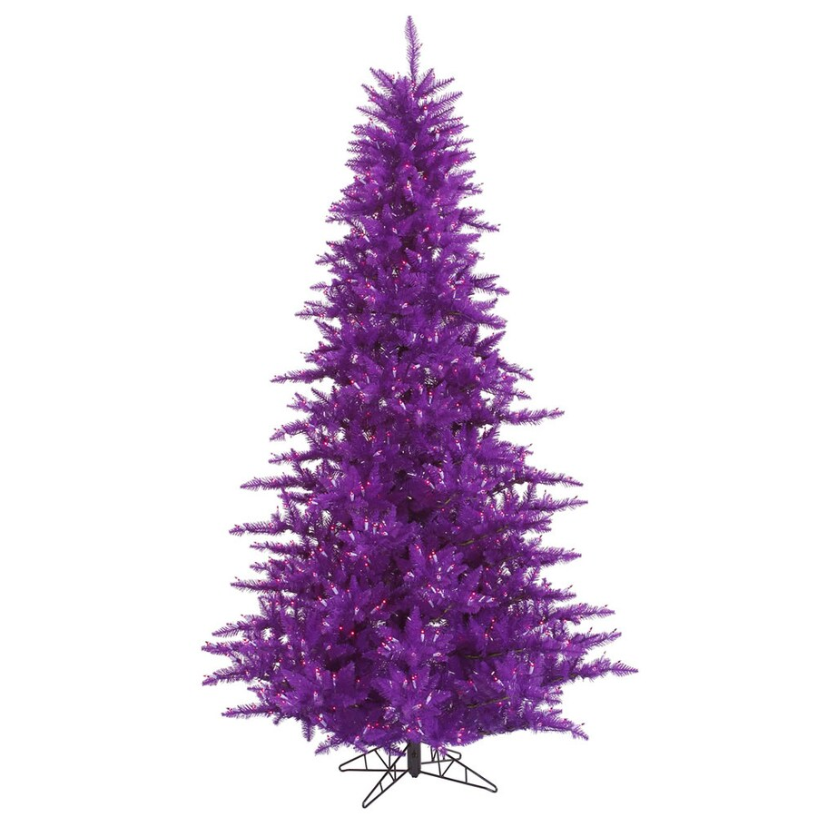 Vickerman 4-ft 6-in Pre-Lit Whimsical Artificial Christmas Tree with Purple Incandescent Lights