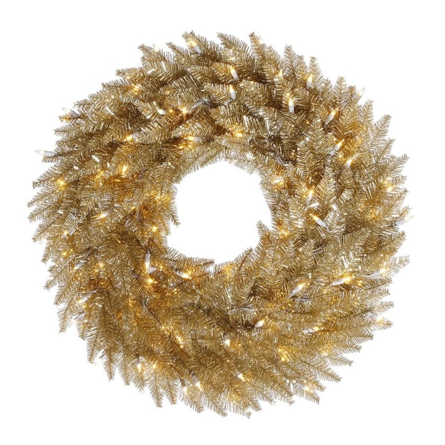 Vickerman 24-in Pre-Lit Plug-In Champagne Tinsel Artificial Christmas Wreath with White Clear Incandescent Lights