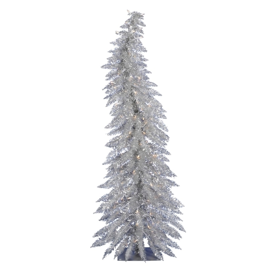 Vickerman 2-ft 6-in 90-Tip Pre-Lit Whimsical Slim Artificial Christmas Tree with 35 Clear White Incandescent Lights