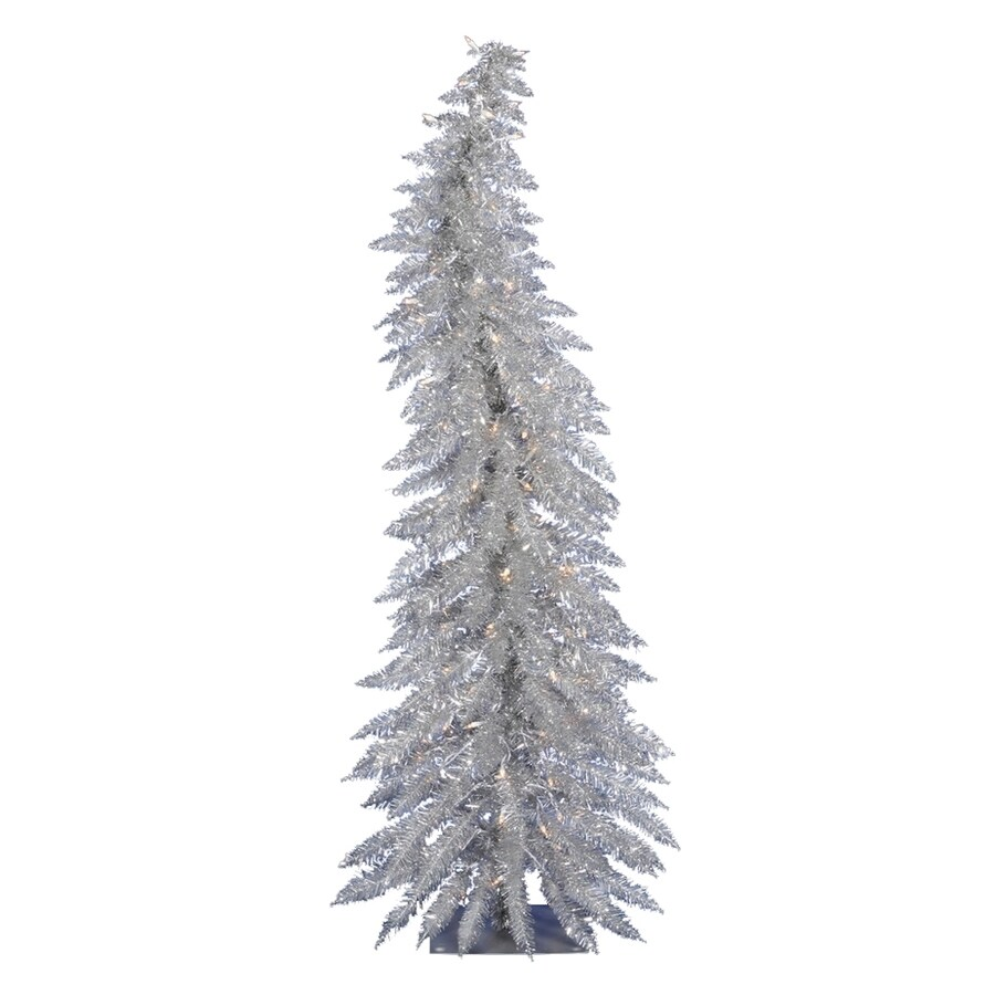 Vickerman 2.5-ft Pre-lit Whimsical Slim Artificial Christmas Tree with 35 Constant Clear White Incandescent Lights