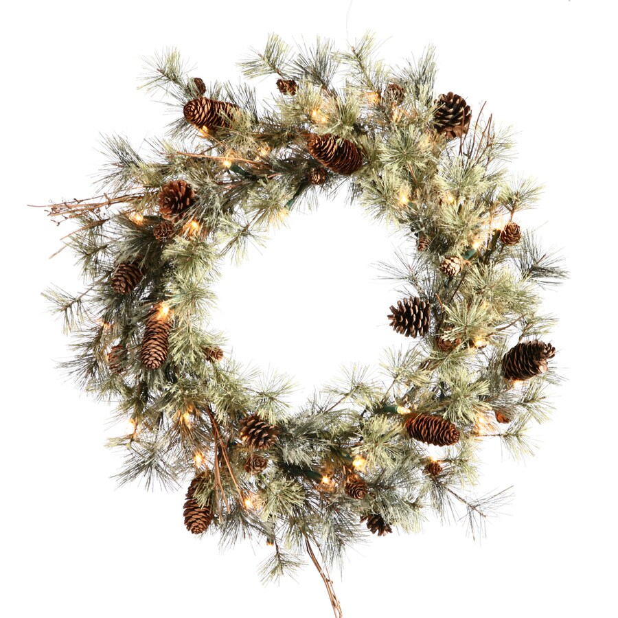 Vickerman Dakota Alpine 24-in Pre-lit Indoor Electrical Outlet Green Pine Artificial Christmas Wreath with White Clear Incandescent Lights