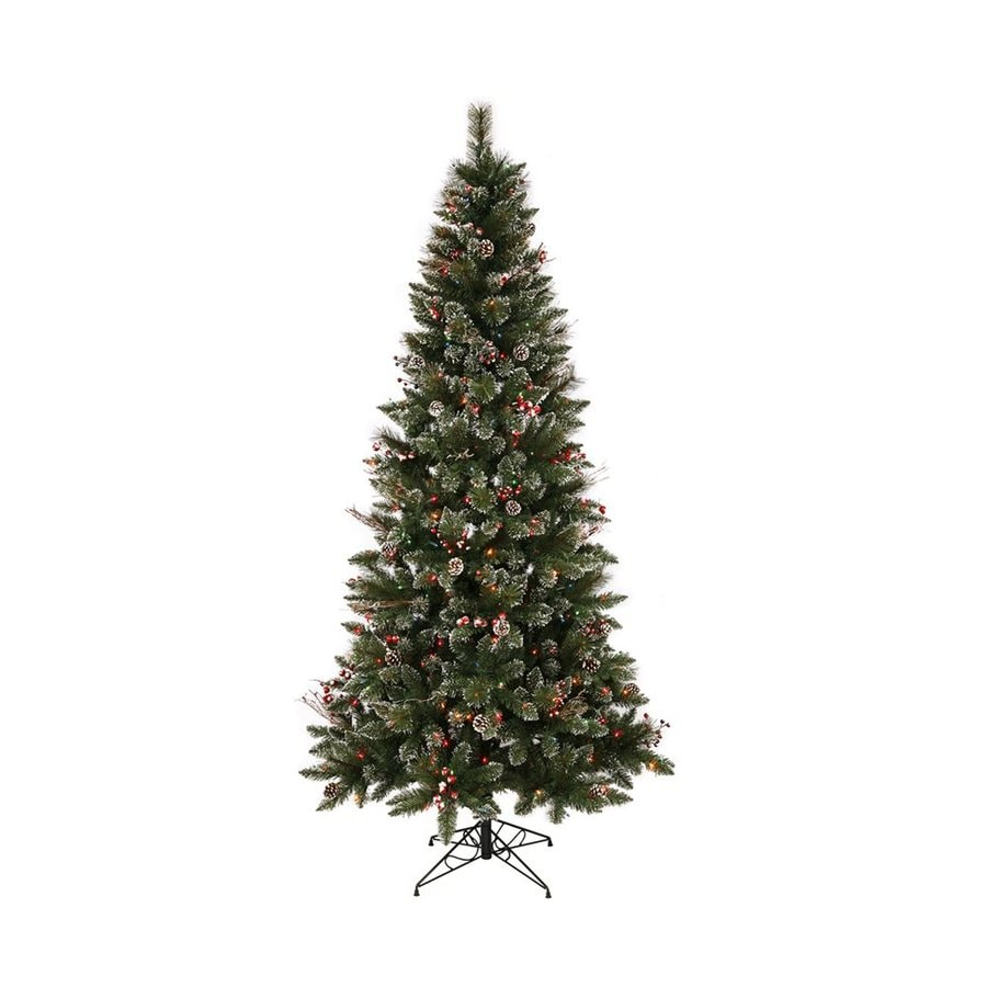 Shop Vickerman 9-ft Pre-lit Winterberry Flocked Artificial Christmas ...