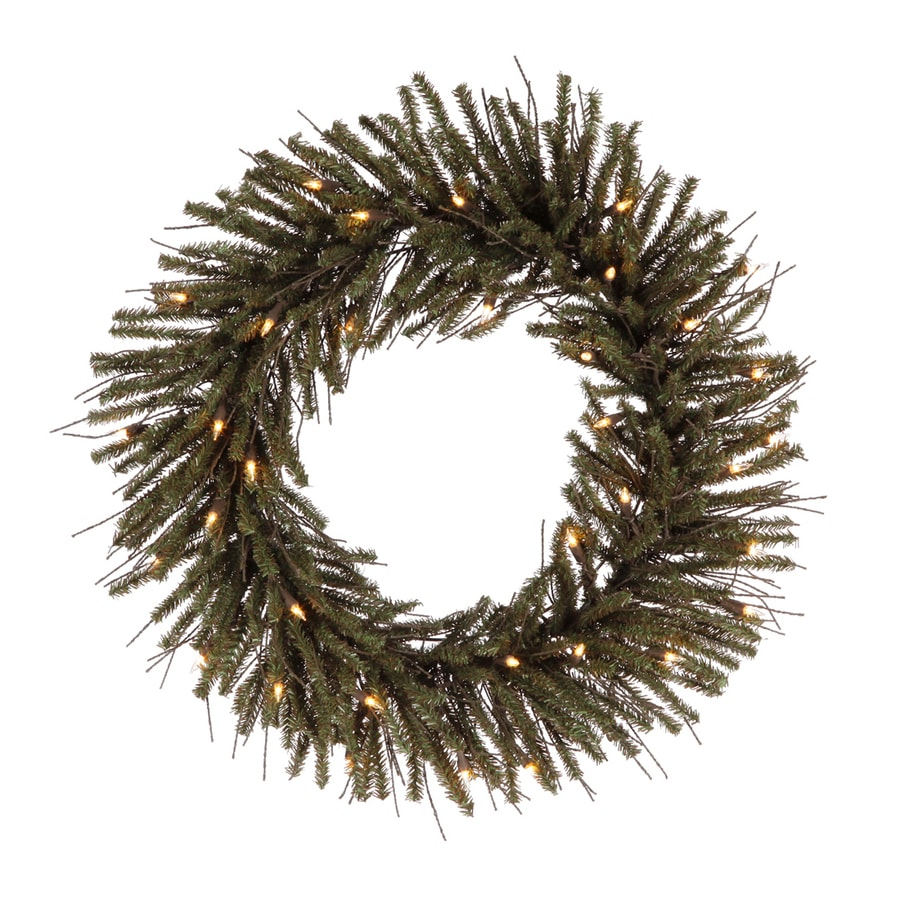 Vickerman Vienna Twig 24-in Pre-Lit Plug-In Brown/Green Twig Artificial Christmas Wreath with White Clear Incandescent Lights