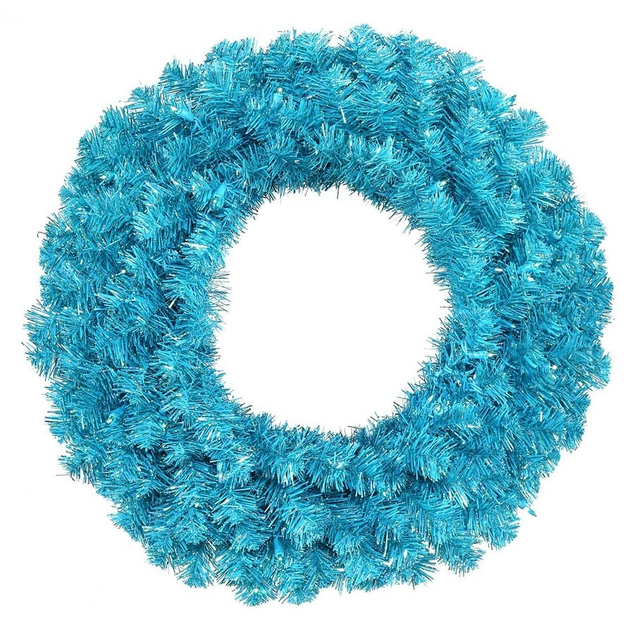 Vickerman 30-in Pre-Lit Plug-In Sky Blue Tinsel Artificial Christmas Wreath with Blue Incandescent Lights