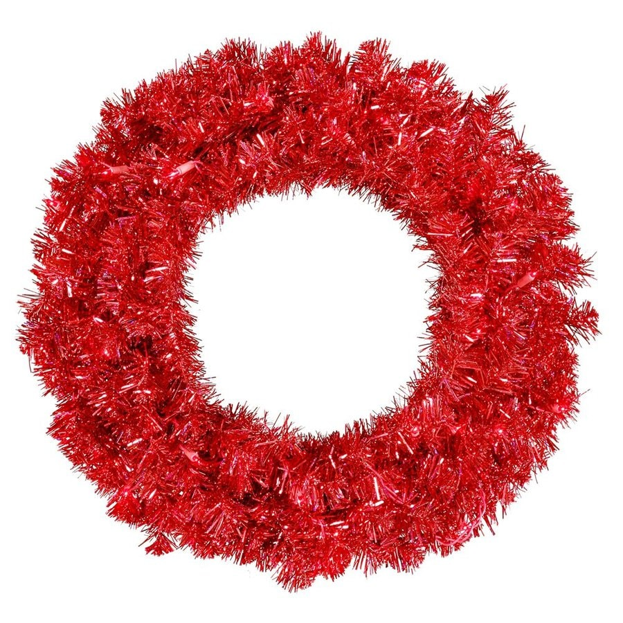 Vickerman 30-in Pre-Lit Plug-In Red Tinsel Artificial Christmas Wreath with Red Incandescent Lights