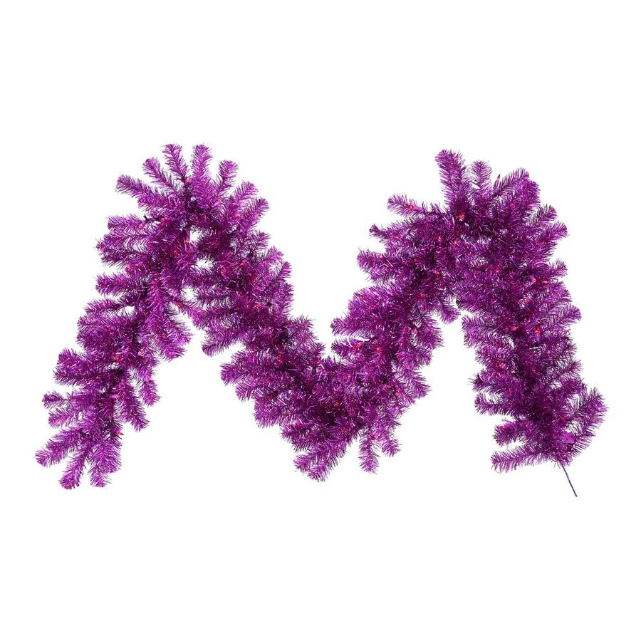 Vickerman Pre-Lit 9-ft L Tinsel Garland with Purple Incandescent Lights
