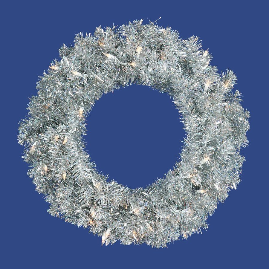 Vickerman 24-in Pre-lit Indoor Electrical Outlet Silver Tinsel Artificial Christmas Wreath with White Clear Incandescent Lights