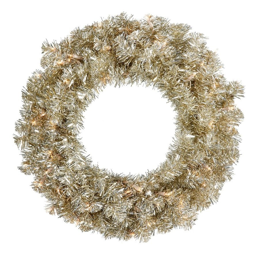 Vickerman 30-in Pre-lit Indoor Electrical Outlet Champagne Tinsel Artificial Christmas Wreath with White Clear Incandescent Lights