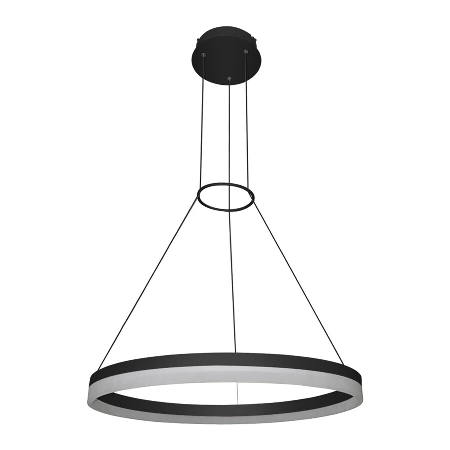 Vonn Lighting Tania 23.625-in Black Single Oval Pendant