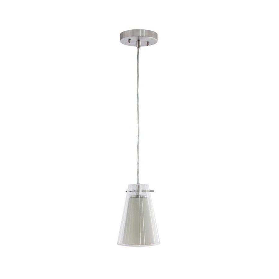 Vonn Lighting Kuma 5.2-in Nickel Clear Glass Cone LED Pendant