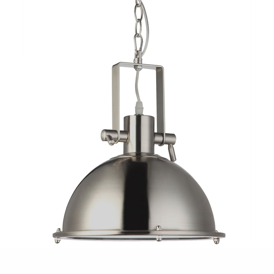 Vonn Lighting Dorado 11.13-in Satin Nickel Industrial Single Dome Pendant