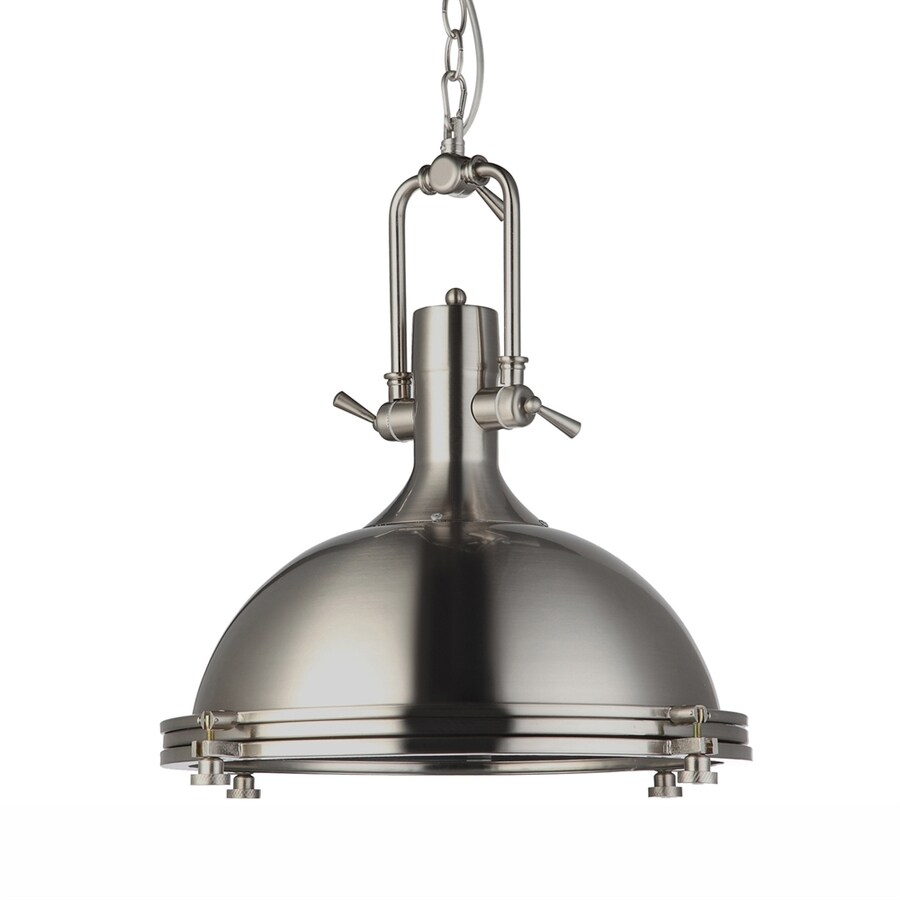 Vonn Lighting Dorado 15.75-in Satin Nickel Industrial Single Dome Pendant