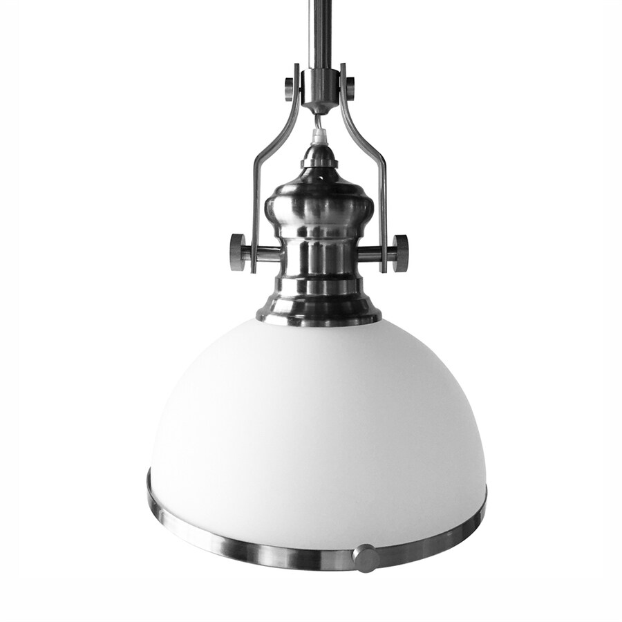 Vonn Lighting Dorado 12.25-in Satin Nickel Industrial Single Dome Pendant