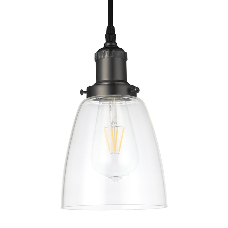 Vonn Lighting Delphinus 5.13-in Architectural Bronze Industrial Single Clear Glass Bell Pendant