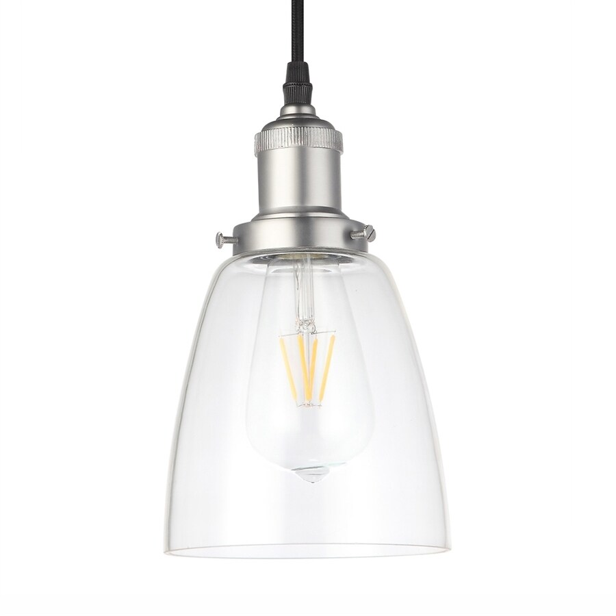 Vonn Lighting Delphinus 5.13-in Satin Nickel Industrial Single Clear Glass Bell Pendant