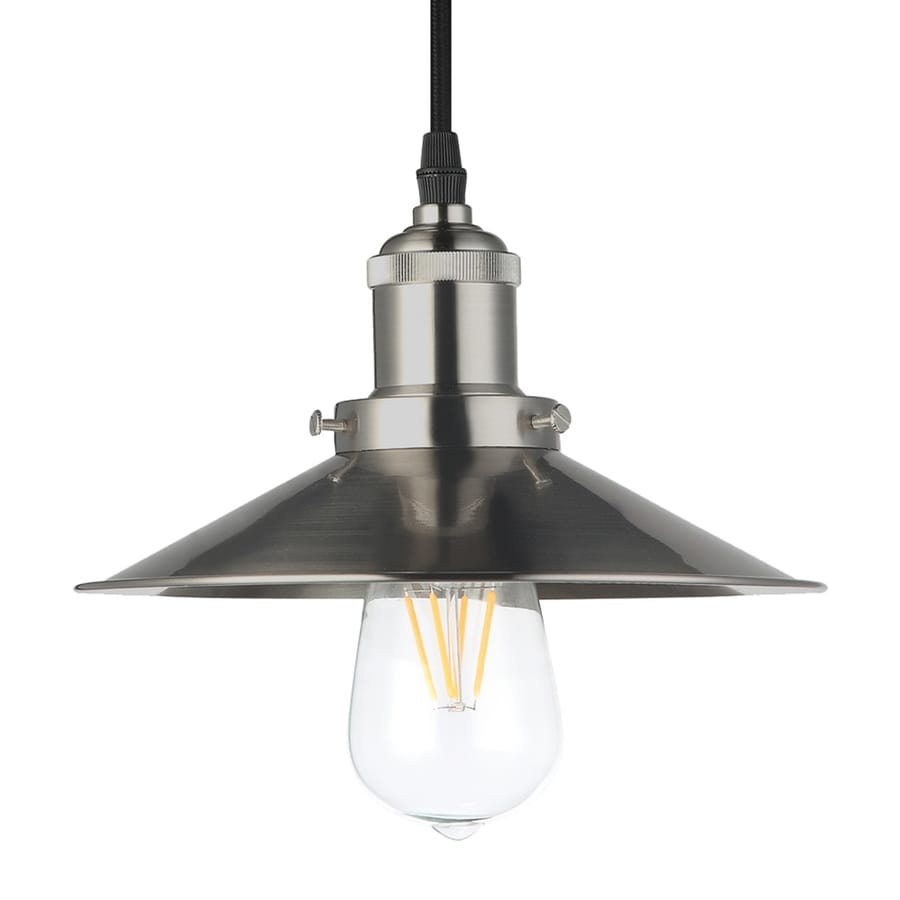 Vonn Lighting Delphinus 8.69-in Satin Nickel Industrial Single Warehouse Pendant