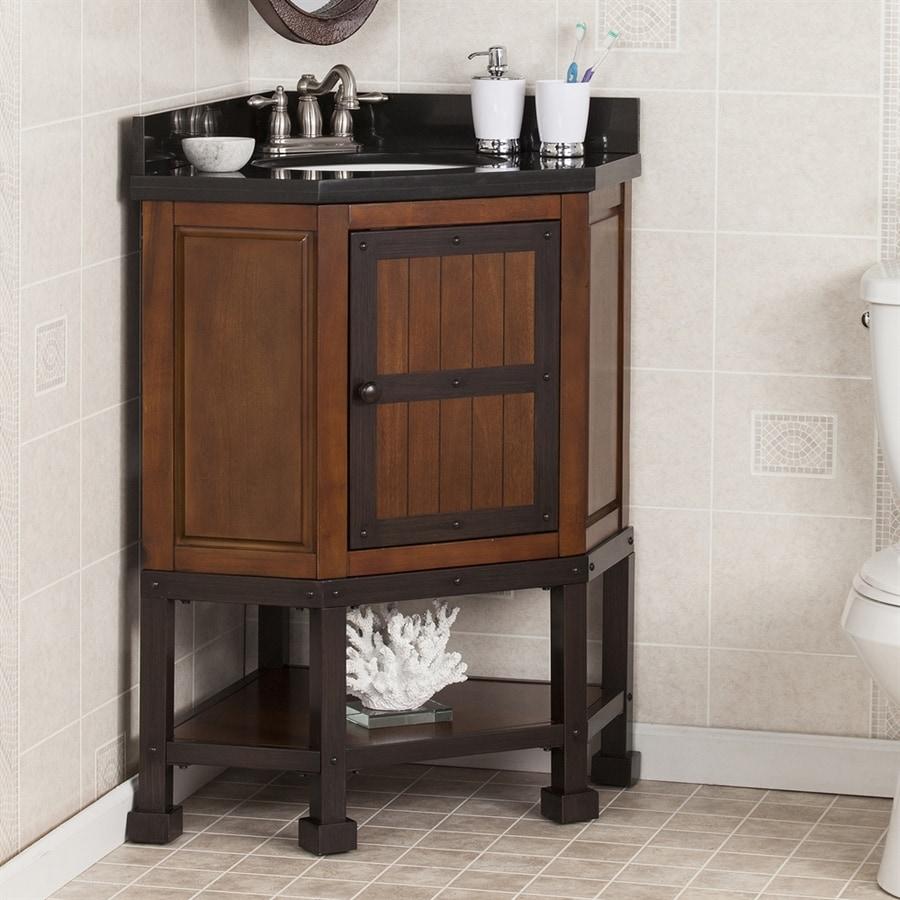 Boston Loft Furnishings Elkins Brown Cherry 34-in Undermount Single Sink Poplar Bathroom Vanity with Granite Top