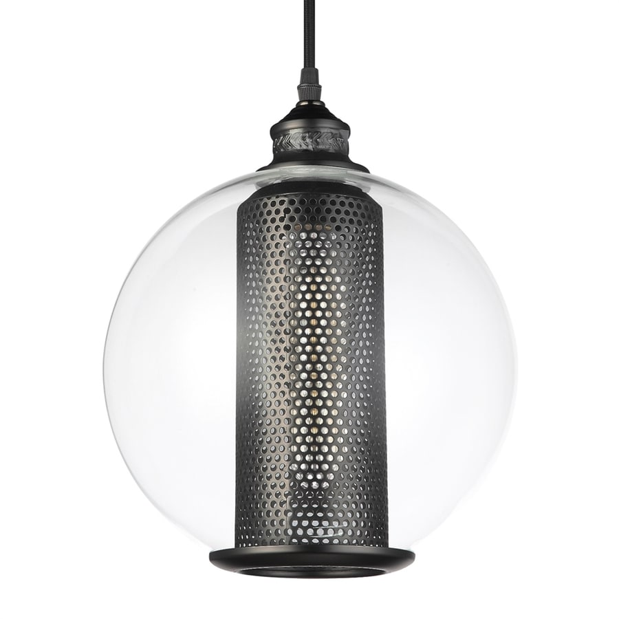 Vonn Lighting Delphinus 9.87-in Architectural Bronze Industrial Single Clear Glass Orb Pendant