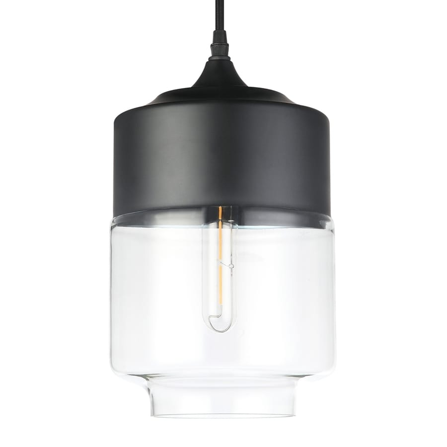 Vonn Lighting Delphinus 7.13-in Matte Black Industrial Single Clear Glass Cylinder Pendant