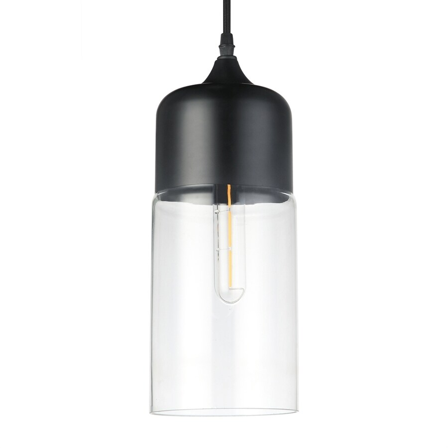 Vonn Lighting Delphinus 5.13-in Matte Black Industrial Single Clear Glass Cylinder Pendant