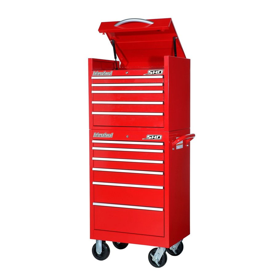 International Tool Storage Super Heavy Duty 64.25-in x 27-in 11-Drawer Ball-Bearing Steel Tool Cabinet (Red)