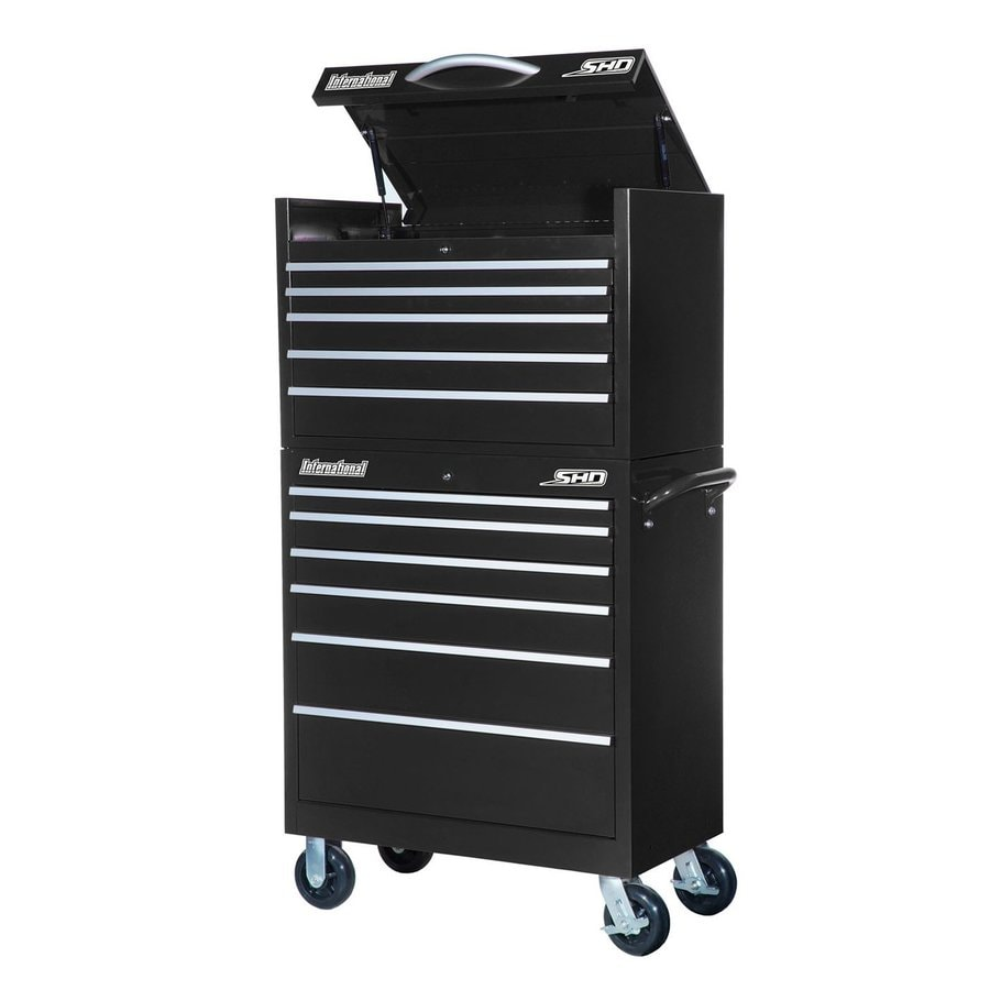 International Tool Storage Super Heavy Duty 64.25-in x 35-in 11-Drawer Ball-Bearing Steel Tool Cabinet (Black)
