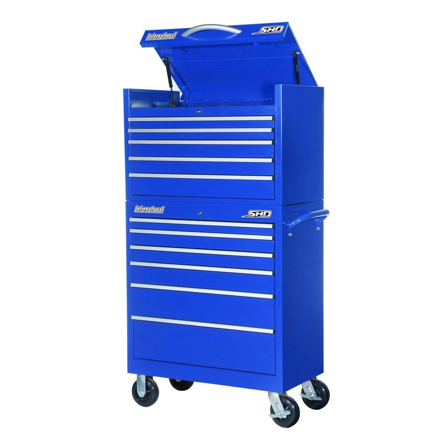 International Tool Storage Super Heavy Duty 64.25-in x 35-in 11-Drawer Ball-Bearing Steel Tool Cabinet (Blue)