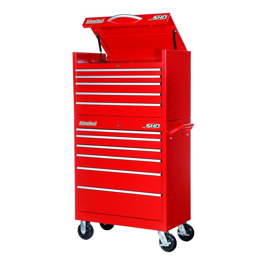 International Tool Storage Super Heavy Duty 64.25-in x 35-in 11-Drawer Ball-Bearing Steel Tool Cabinet (Red)