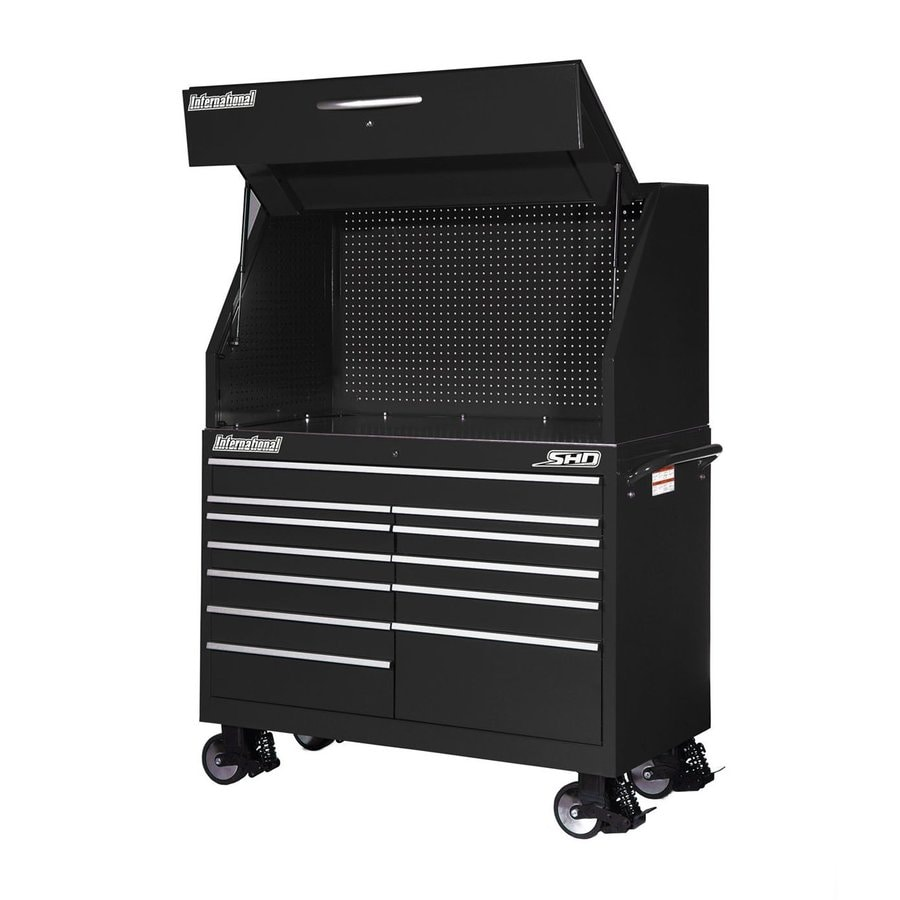 International Tool Storage Super Heavy Duty 71.5-in x 54-in 12-Drawer Ball-Bearing Steel Tool Cabinet (Black)