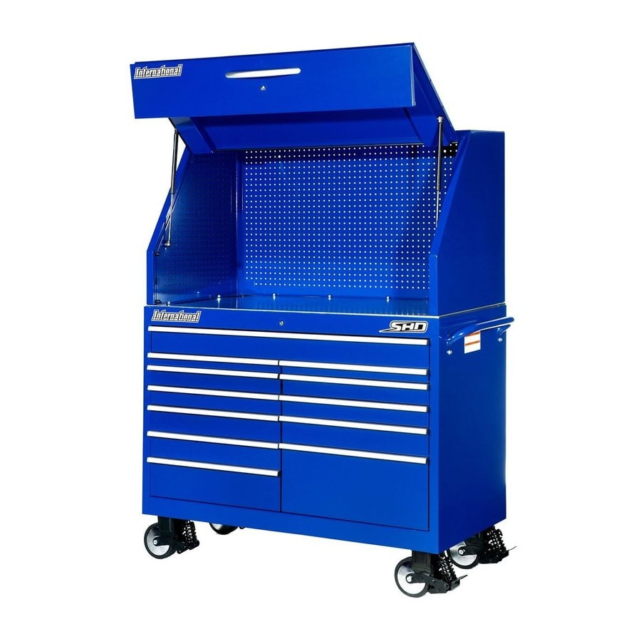 International Tool Storage Super Heavy Duty 71.5-in x 54-in 12-Drawer Ball-Bearing Steel Tool Cabinet (Blue)